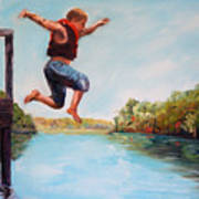 Jumping In The Waccamaw River Art Print