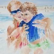 Jumping The Shore Break Art Print
