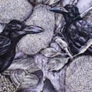Jungle Crows On Jackfruit Art Print
