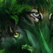 Jungle Eyes - Panther And Ocelot  Art Print