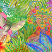 Jungle Spirits And Humming Bird Art Print