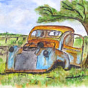 Junk Car And Tree Art Print