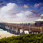 Juno Beach Pier Treasure Coast Florida Seascape Dawn C5a Art Print