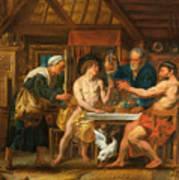 Jupiter And Mercury In The House Of Philemon And Baucis Art Print
