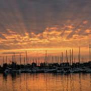 Just A Sliver Of The Sun - Sunrise God Rays At The Marina Art Print