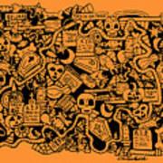 Just Halloweeny Things V7 Art Print by Chelsea Geldean