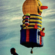 Just Passing Through  Hot Air Balloon Art Print by Bob Orsillo