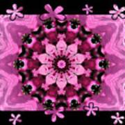Kaleidoscope 1 With Black Flower Framing Art Print