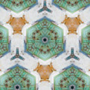 Kaleidoscope In Mint And Orange Art Print