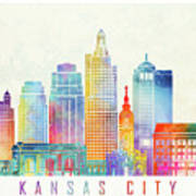 Kansas City Landmarks Watercolor Poster Art Print
