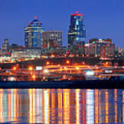 Kansas City Missouri Skyline At Night Art Print