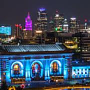 Kansas City Vibrant At Night Art Print