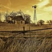 Kansas Pioneer Homestead On The Plains Art Print