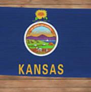 Kansas Rustic Map On Wood Art Print
