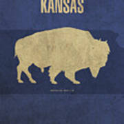 Kansas State Facts Minimalist Movie Poster Art Art Print