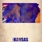 Kansas Watercolor Map Art Print by Naxart Studio