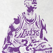 Kareem Abdul Jabbar Los Angeles Lakers Pixel Art Art Print