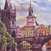 Karluv Most A Novotneho Lavka  Art Print by Gordana Dokic Segedin