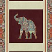 Kashmir Elephants - Vintage Style Patterned Tribal Boho Chic Art Art Print