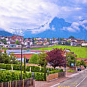 Kastelruth And Schlern Peak In Alps Landscape View Art Print