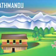 Kathmandu Nepal Horizontal Scene Art Print