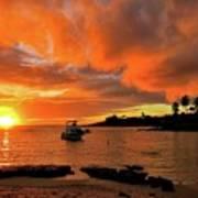 Kauai Sunset And Boat At Anchor Art Print