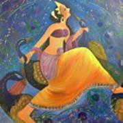 Kaushiki Dance With Peacock Art Print