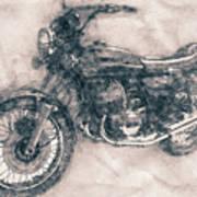 Kawasaki Triple - Kawasaki Motorcycles - 1968 - Motorcycle Poster - Automotive Art Art Print