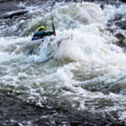 Kayak Roll Up In Pipeline Rapids 5959 Art Print