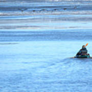 Kayaker And Geese Art Print