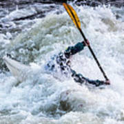 Kayaker In Action At Pipeline Rapids In James River 5956c Art Print