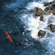 Kayaking Along Coastline Art Print