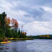 Kayaking In Autumn Art Print