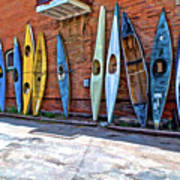 Kayaks On A Wall  Art Print