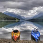Kayaks On Bowman Lake Art Print by Donna Caplinger