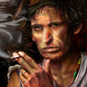 Keith Richards1-burning Lights 4 Art Print by Reggie Duffie