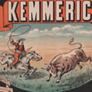 Kemmerich - Bull - Lasso - Old Poster - Vintage - Wall Art - Art Print - Cowboy - Horse  Art Print