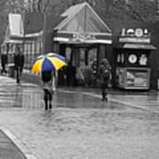 Kendall Square Rainy Day Cambridge Ma Blue And Yellow Art Print