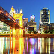 Kentucky View Of The Cincinnati Ohio Skyline - Panorama Art Print