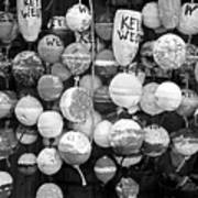 Key West Lobster Buoys Black And White Art Print