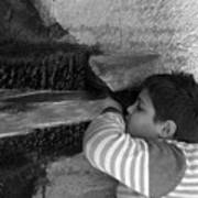 Kid Drinking From The Fountain Art Print