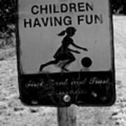Kids At Play Sign Art Print