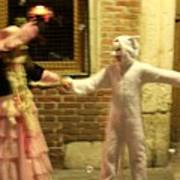 Kids Dancing During Carnevale In Venice Art Print