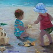 Kids Having A Shell Time In  Holmes Beach Art Print