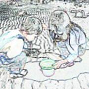 Kids On The Beach Art Print