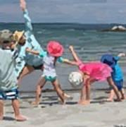 Kid's Yoga Class On Wingaersheek Beach Art Print