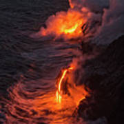 Kilauea Volcano Lava Flow Sea Entry - The Big Island Hawaii Art Print