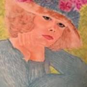 Kim Alexis In Flowery Hat Art Print