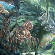 King Kong vs T-Rex Art Print