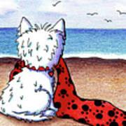Kiniart Beach Blanket Westie Art Print